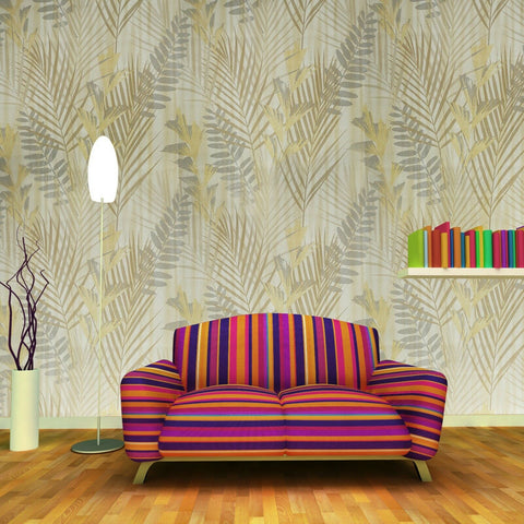 255004 Portofino yellow Gold Metallic Floral Jungle Tropical Palm Leaves Wallpaper