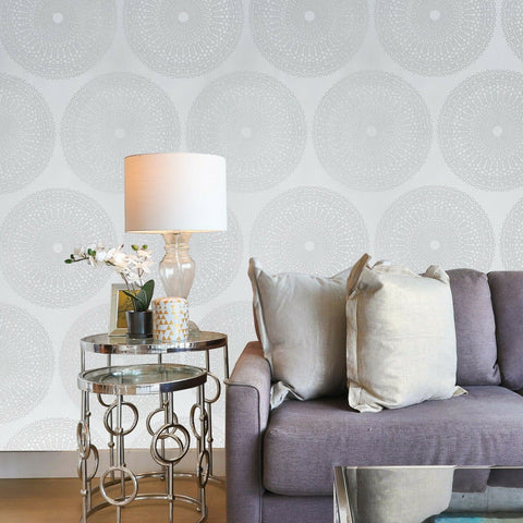 215023 Portofino lace Glassbeads textured white silver Metallic Wallpaper