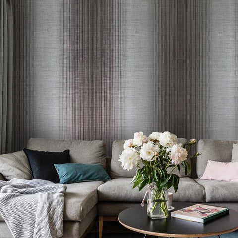 135025 Charcoal Striped Gray Ombre Wallpaper