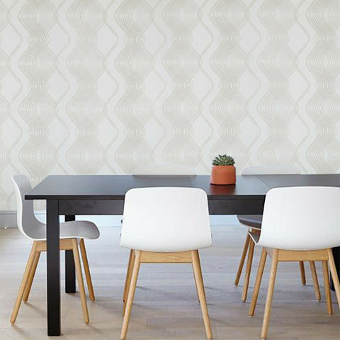 8602-05 Slavyanski yellow cream gold metallic textured wave lines Wallpaper