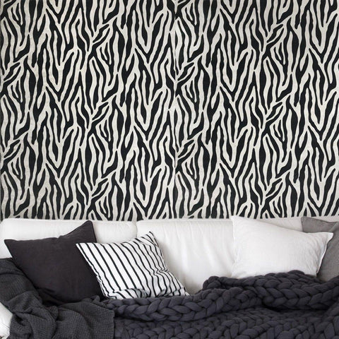 115018 Portofino Zebra Flocking White Black Textured Wallpaper