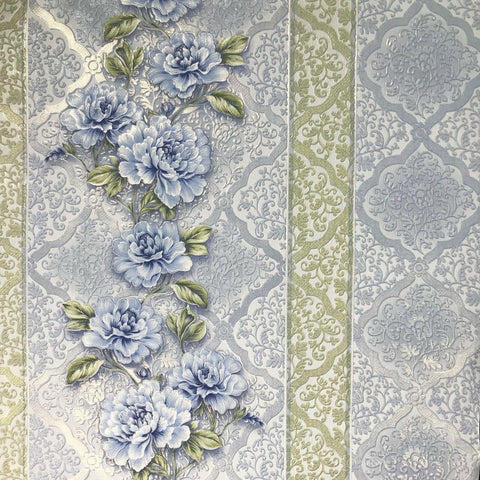 8051-03 Wallpaper floral textured green blue flowers modern diamond vintage damask - wallcoveringsmart