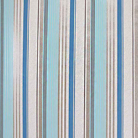 M307-01 Blue Striped Expanded Vinyl - Double roll Wallpaper