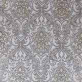 L876-10 Gray Silver Victorian Damask Wallpaper Roll