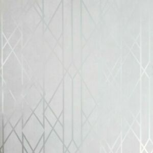 WM21511301 Matt gray off white silver metallic geometric trellis lines 3D Wallpaper