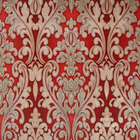 L900-13 Red burgundy gold metallic textured Victorian vintage damask texture