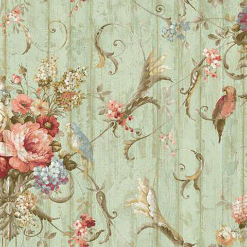HA1326 Parrots Floral Bouquet Wallpaper