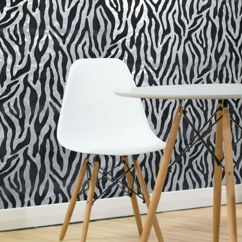 115016 Portofino black silver Metallic Textured Flocking velvet animal zebra Wallpaper