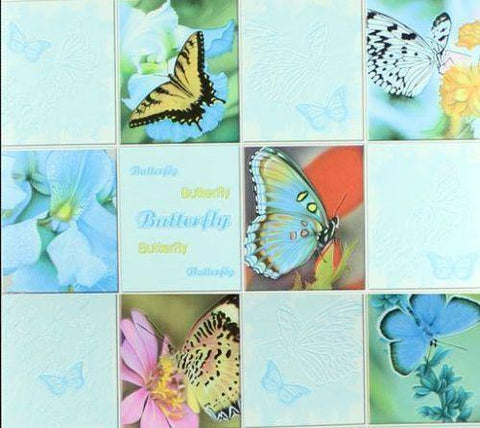 C932-03 Blue Butterfly Tile Floral Wallpaper - wallcoveringsmart