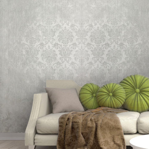 305001 Portofino White Gray Silver Flock Satin Damask Wallpaper