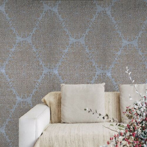 M5658 Murella Gray silver bronze metallic diamond damask faux fabric Wallpaper