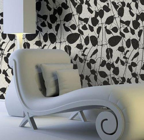 135052 White Black Flock Leave Floral Wallpaper