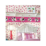 DY0180 York Minnie Mouse Disney Kids roll white pink bow Wallpaper