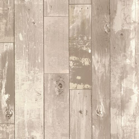 347-20132 Distressed Wood Planks Taupe Wallpaper