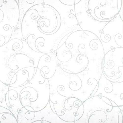 DK5966 Perfect Princess Scroll white Silver Glitter Disney Wallpaper