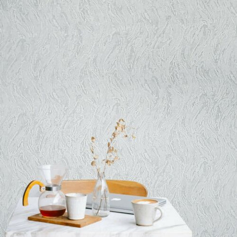 3628-01 White gray silver metallic faux plaster wave stroke Wallpaper