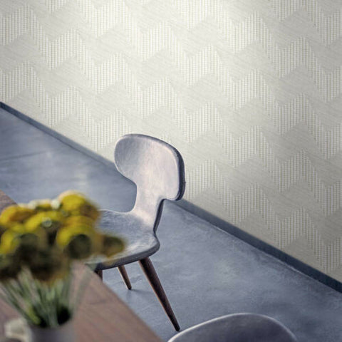 Z44860 Lamborghini Wicker bamboo zig zag Chevron white textured Wallpaper