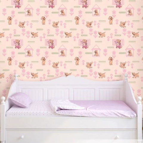 M327-02 Pink Knit Dog Kids Nursery Wallpaper