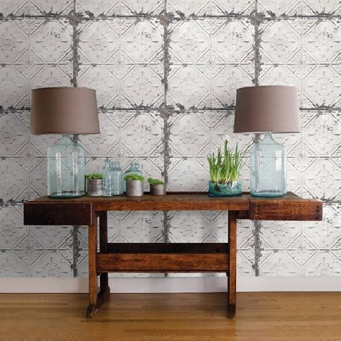 2767-22305 White Reclaimed Distressed Tin Ceiling Wallpaper