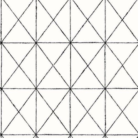2697-78003 Brewster Intersection Black White Geometric Wallpaper