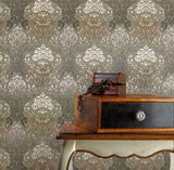6513-08 Damask Olive Cream Wallpaper