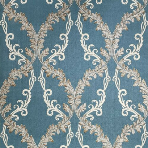 M5644 Murella blue beige taupe bronze gold Textured Damask faux fabric 3D Wallpaper