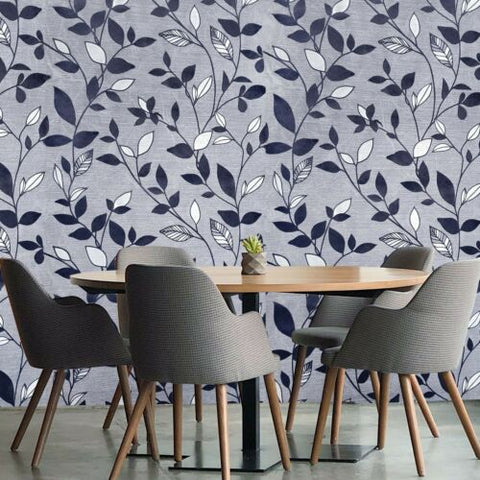 165004 Portofino gray silver navy blue Flocking Velvet flocked Textured floral Wallpaper