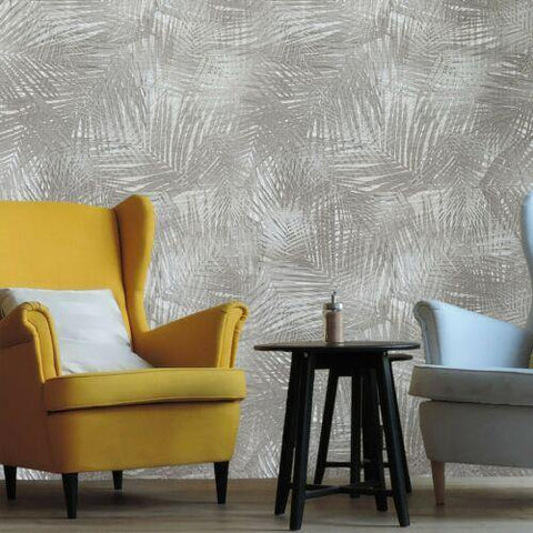 Z44857 Lamborghini Floral Tropical bamboo taupe tan brass textured Wallpaper - wallcoveringsmart