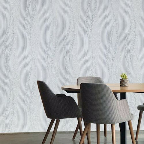 5631-10 Slavyanski textured white gray silver gold Victorian damask wave lines 3D Wallpaper