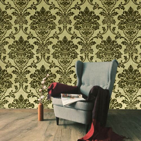 500015 Portofino Brown Gold Metallic Textured Flocking velvet Velour Wallpaper