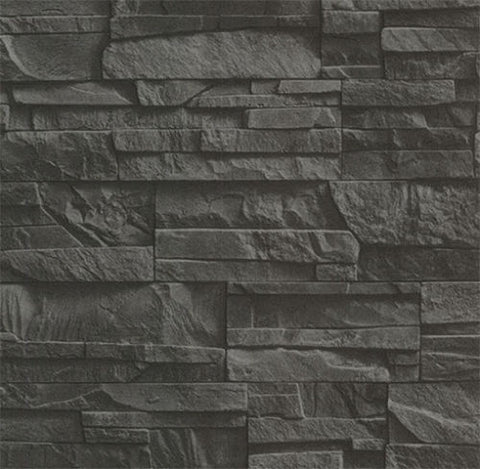 2774-475036 Brick Stone Black Wallpaper