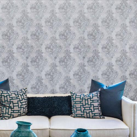 7070-03 Vintage paper damask gray bronze metallic textured 3D Wallpaper