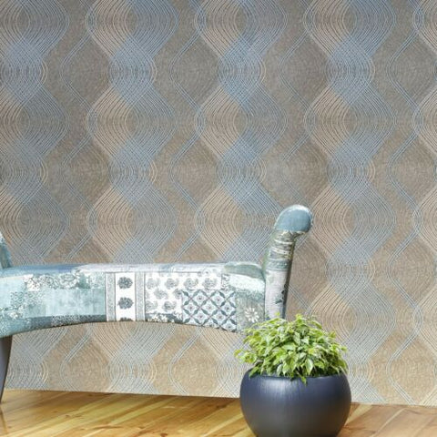 8602-12 Slavyanski teal blue brass gold metallic textured wave lines Wallpaper