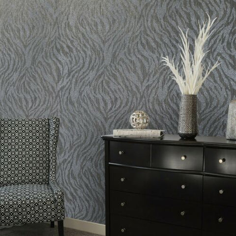 215013 Portofino Zebra Glassbeads textured charcoal gray silver Metallic Wallpaper
