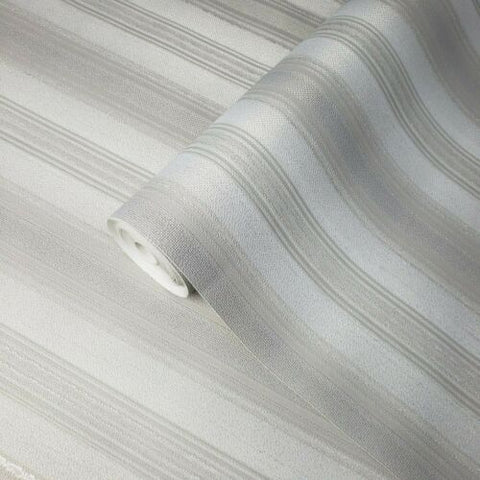 8523-10 Slavyanski White gray silver metallic textured striped stria lines stripes Wallpaper