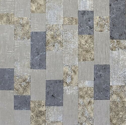 4504-13 Slavyanski Textured Faux cork tiles black taupe gold gray silver metallic Wallpaper