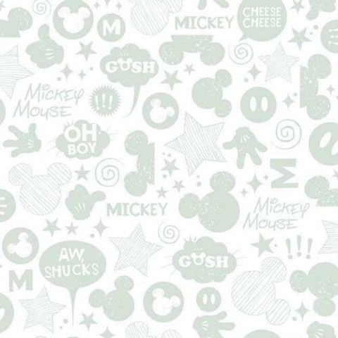 DS7812 Disney Kids III York white Silver Mickey Mouse Wallpaper