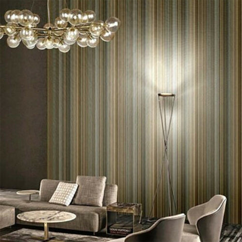 M5629 Murella Striped Gray gold silver metallic lines faux fabric textured Wallpaper