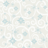 DY0156 York Disney Frozen Snowflake Scroll off white blue Wallpaper