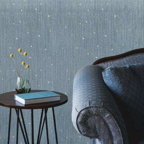 M16040 Zambaiti Striped blue gray gold textured faux bamboo grasscloth Wallpaper