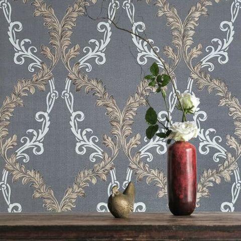 M5636 Murella charcoal gray bronze metallic White Textured faux fabric Wallpaper