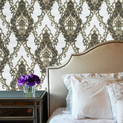 8611-05 Slavyanski Victorian Vintage damask ivory off white bronze gray Textured Wallpaper
