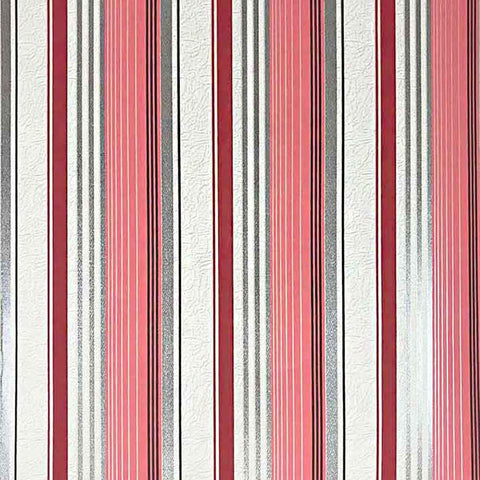 M307-12 Red pink gray white Striped Expanded Vinyl stripes Wallpaper