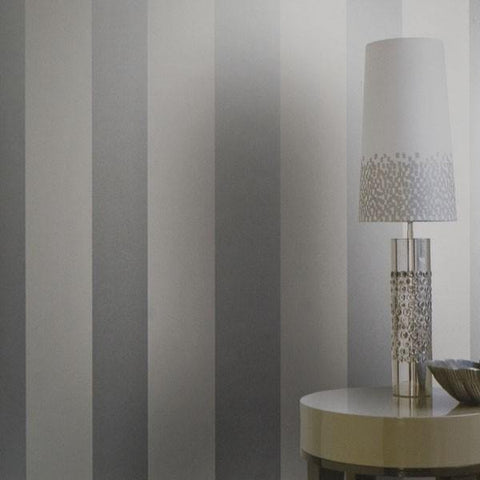 225018 Portofino Silver Metallic Velvet Stripes Flocked Wallpaper