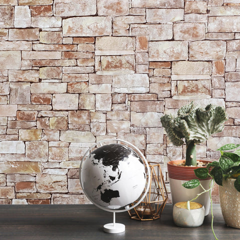 5636-02 Wallpaper textured sand brown yellow modern stone faux sandstone 3D - wallcoveringsmart