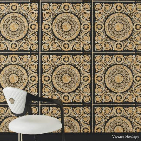 37055-3 Heritage Square Barocco Black Gold Textured Wallpaper