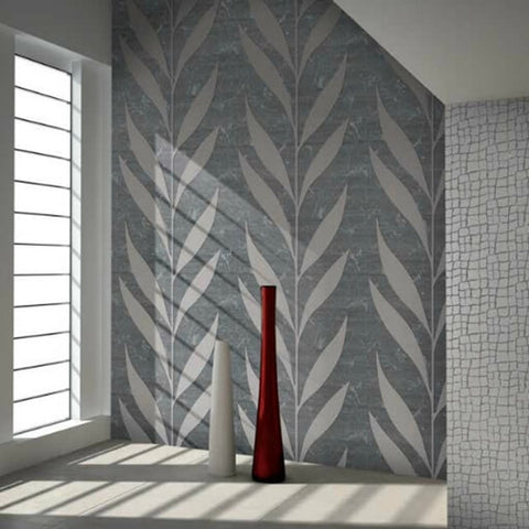 165010 Portofino Flock Velvet Gray Leaf Textured Velvet Wallpaper
