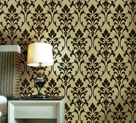 165031 Portofino Gold Brown Flock Damask Velvet Textured Wallpaper