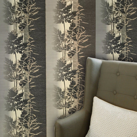 L463-10 Leaf Print Stripe Olive Cream Wallpaper