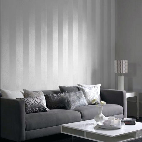 700027 White Striped Satin & Matt stria Lines Wallpaper Stripes